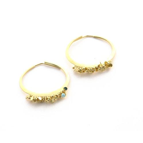 Sprinkle Hoop Earrings in 18k Gold.
