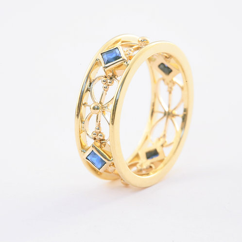 18k Yellow Gold FIligree Ring with.67 ctw Blue Sapphires.