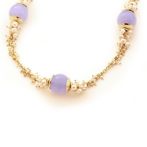 18K Gold Chain with Blue Chalcedony Beads and Freshwater Pearl Clusters.