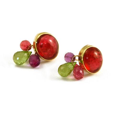 Rubellite Amethyst and Peridot earrings.