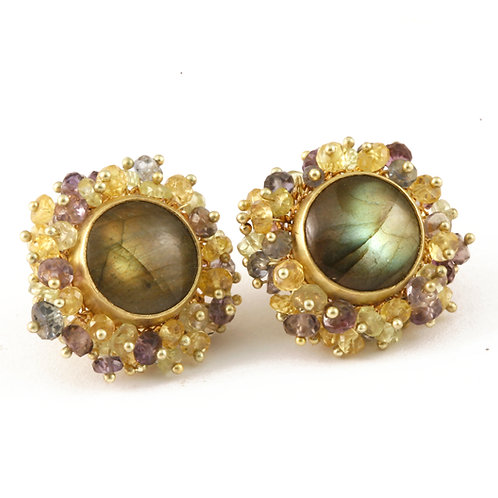 Spectralite Earrings in 18k Gold with Tanzanite, Chrysoberyl and Garnet