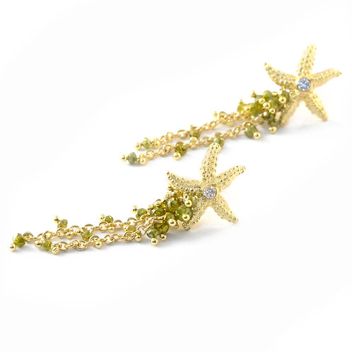 Green Diamond Seastar Earrings in 18k Gold.