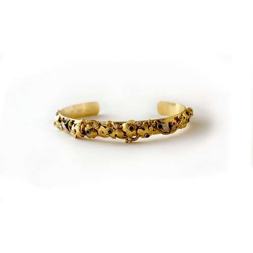 Cuff Bracelet in 18k Gold, 22k Gold and Platinum with Diamonds and Sapphires