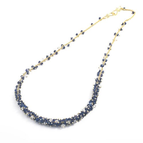 Multicolor Sapphire Bead Necklace in 18k Gold.