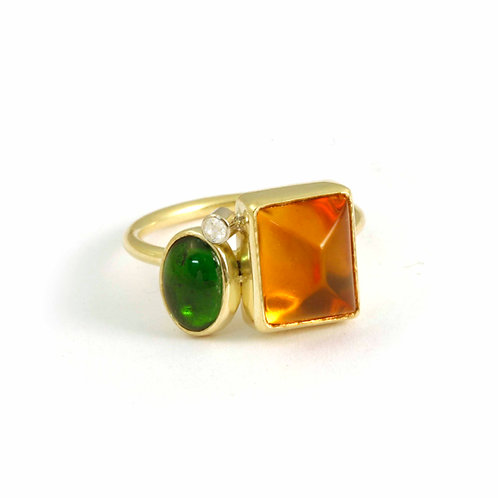 18k Assembly ring in Autumn colors