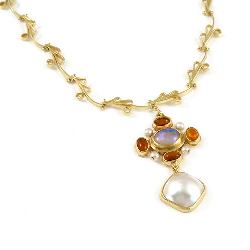 Opal, Pearl and Citrine drop on handmade 18k chain.