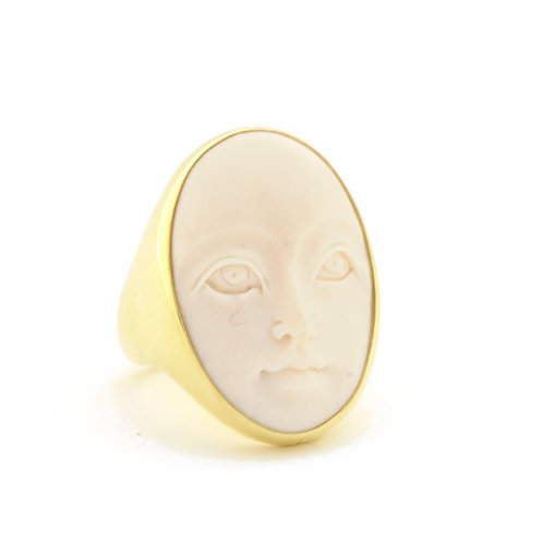 Carved Bone set in 18k Gold