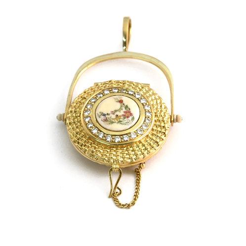 18k and diamond Clovernook locket.Nantucket Lightship basket pendant