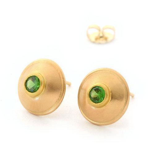 Demantoid Garnet Earrings in 18k Rose Gold.