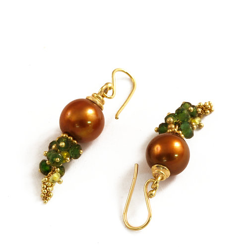 Golden Brown Pearls and Green Tourmaline beads