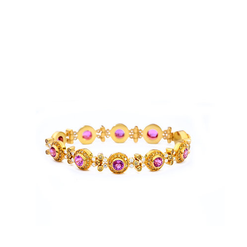 Pink Sapphire and Yellow Diamond Bracelet in 22k and 18k Gold