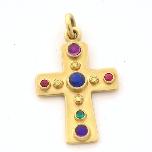 Multistone Cross with Yellow Diamonds in 18k Gold.