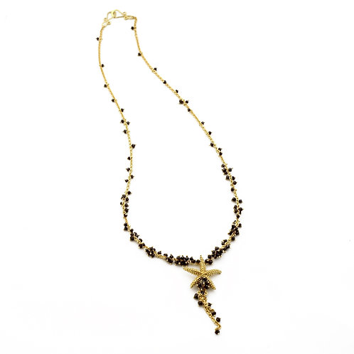 Seastar Necklace with Black Diamonds in 18k Gold.