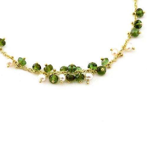 Floating Green Tourmaline Bead and Freshwater Pearl Necklace on 18k Gold Light C