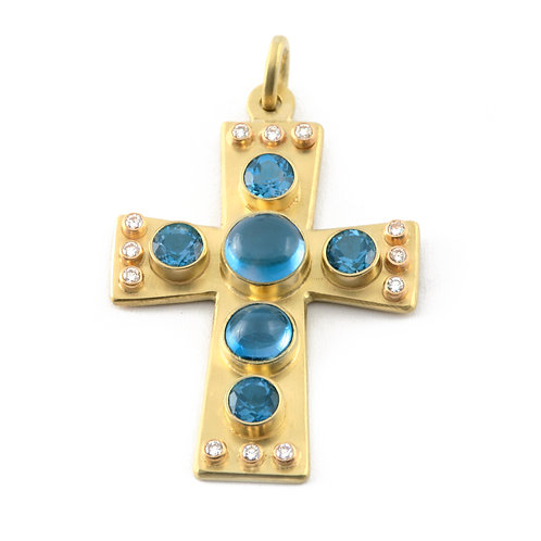 Blue Topaz and .24 ctw Diamond Cross in 18k Gold.