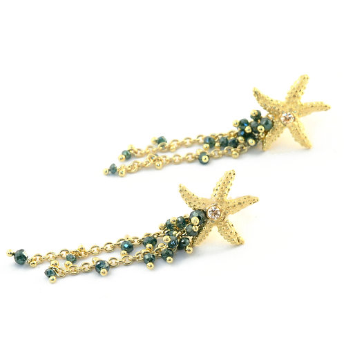 Blue Diamond Seastar Earrings in 18k Gold