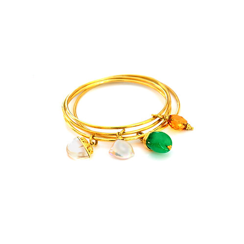 Bangle Bracelets in 18k gold with Gemstone Charms