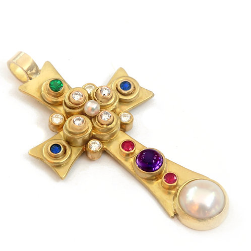 18k Cross Pendant with Ruby, Amethyst, Sapphire, Emerald, Diamond and Pearls