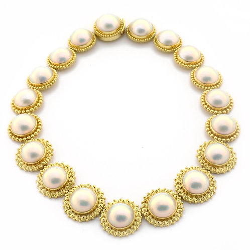 Gem Mabe Pearl Necklace in 18k Gold, 773 handmade parts