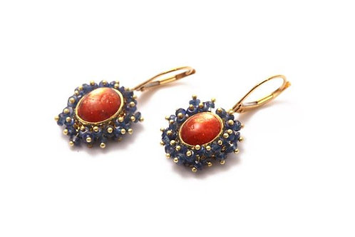 Sunstone Sapphire Earrings