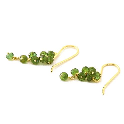 Green Tourmaline Cluster Earrings in 18k Gold.