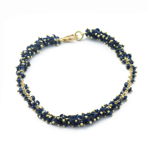 Faceted Sapphire Bead Bracelet in 18k Gold.