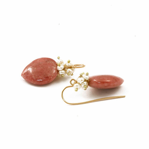 Pink Rhodonite Drops with seed pearls
