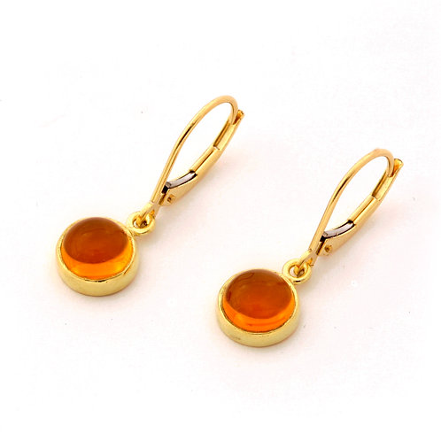 Citrine Cabochon Drop Earrings in 18k Gold.
