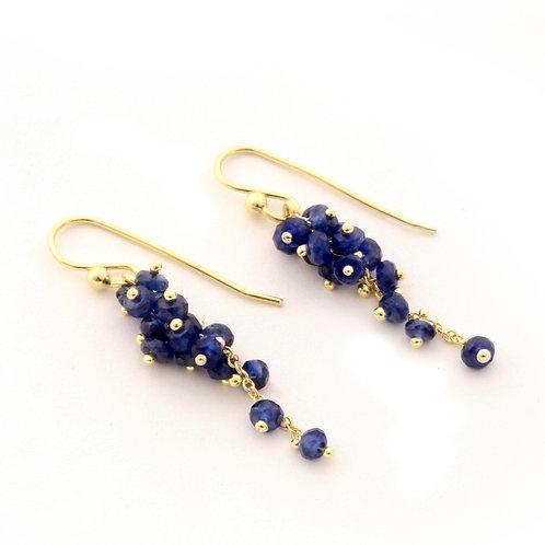 Sapphire Cluster Earrings in 18k Gold.