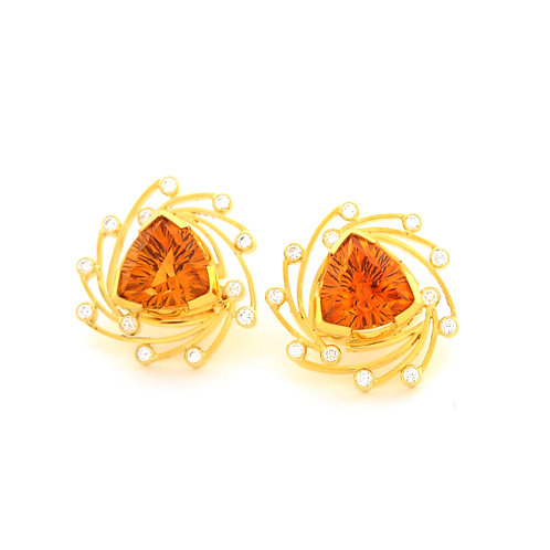 10.59 ctw Citrine Starburst Earrings in 22k Gold.