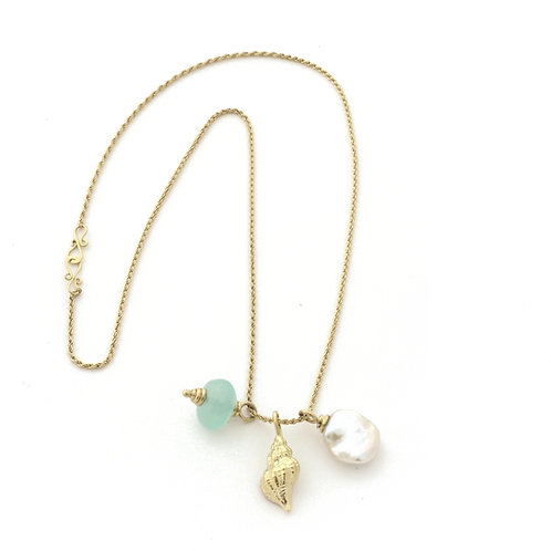Three charms on chain with Chrysoprase, Freshwater Pearl and 18k Gold shell.