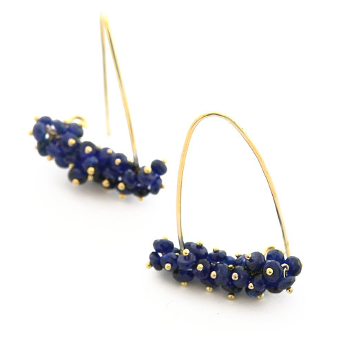 Sapphire Stirrup Hoops in 18k Gold.  1 1/4 inches.