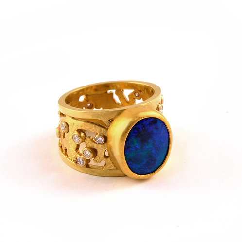 Opal Doublet Ring in 18k and 22k Gold with .38 ctw Diamonds.