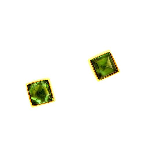 Green Tourmaline Cabochon Studs.