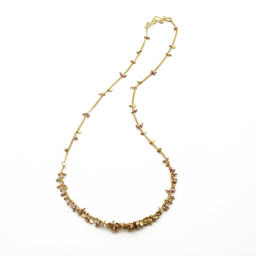 18K Gold Chain with 2mm Pink Freshwater Pearls and Gold Discs. Length 16 inches.