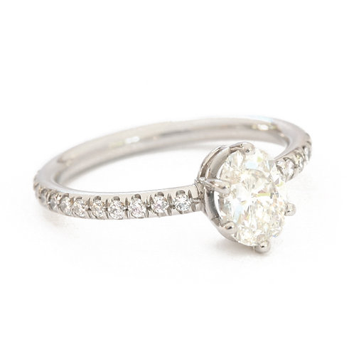 Platinum Micro Pave Band with 0.50 carat Solitaire oval Diamond