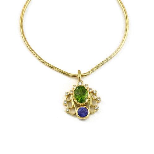 Sapphire, Peridot and Diamond Pendant
