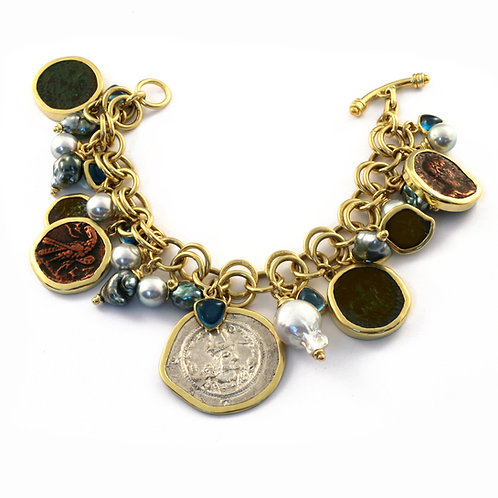 18k Gold Charm Bracelet with Antique Silver and Bronze Coins