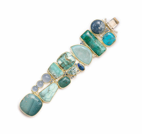 Blues and Greens Bracelet with Assorted Stones in 18k Gold