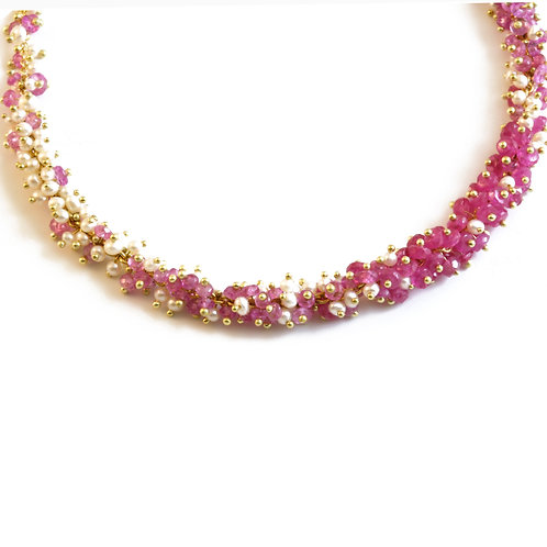 Pink Sapphire and Seed Pearls on 18k chain