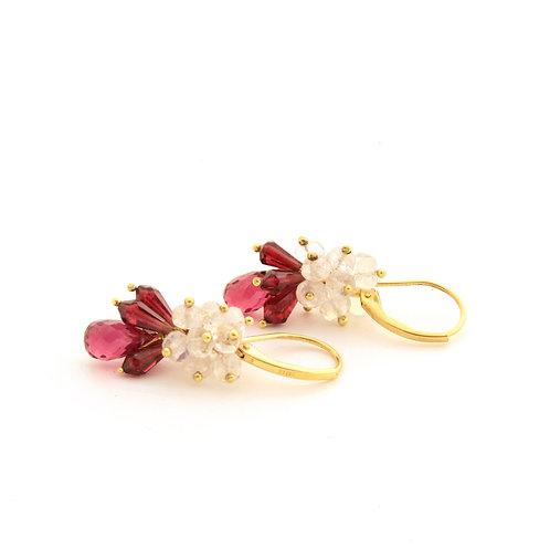 Moonstone and Garnet Cluster Earrings in 18k Gold.