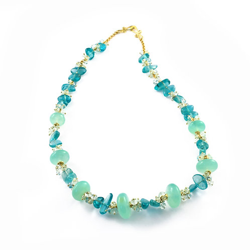 Necklace with Apatite, Chrysoprase, Green Beryl and Aquamarine in 18k Gold.