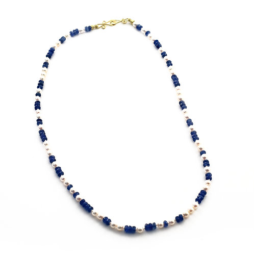 Sapphire and Freshwater Pearl Necklace with 18k Gold Clasp.  16 inches.
