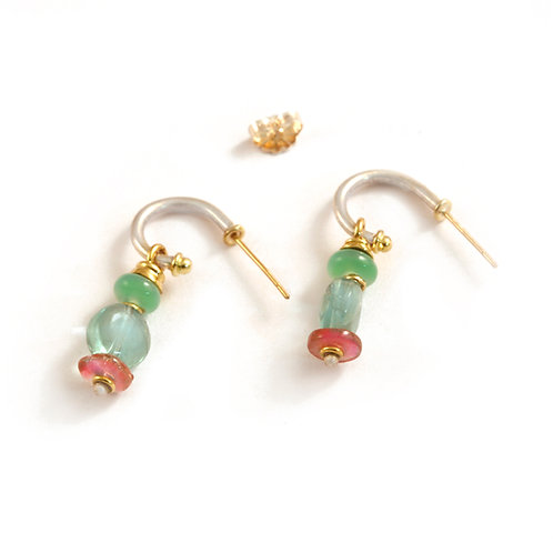 Sterling hoops with 18k finials and Gemstone beads