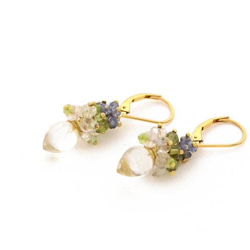 Quartz Drops with Grey Sapphire, Moonstone and Peridot Beads in 18k Gold.