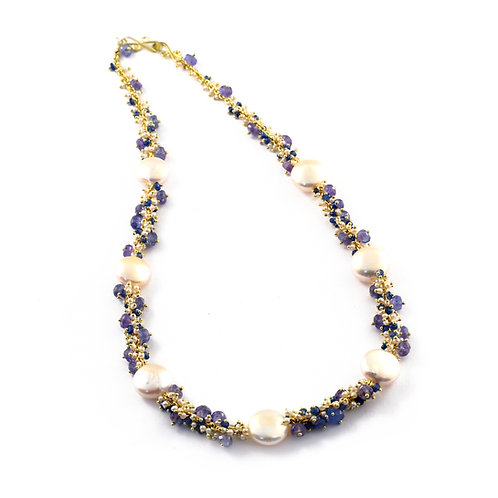 Floating Coin Pearl Necklace with Tanzanite and Sapphire in 18k Gold.