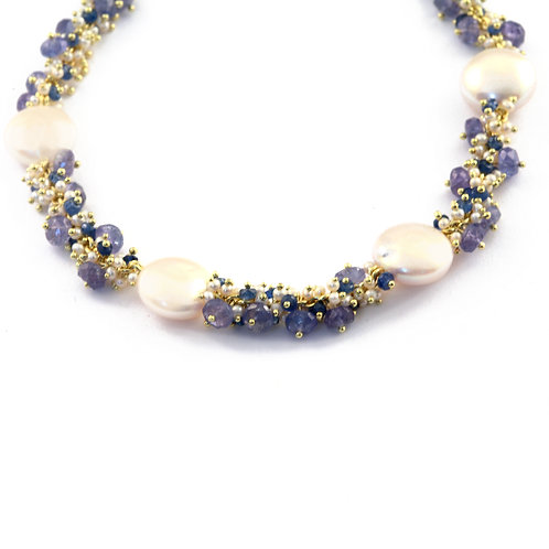 18k and Floating Coin Pearl Necklace with Tanzanite and Sapphire.