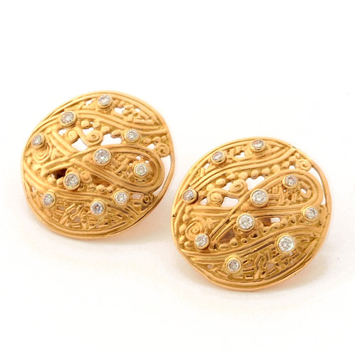 18k Rose Gold Shield Earrings with Diamonds.