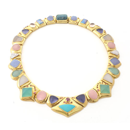 Multistone Necklace with Pink Sapphires