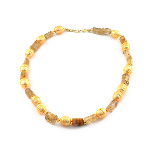 Pearl, Rutilated Quartz and Citrine Necklace in 18k Gold.